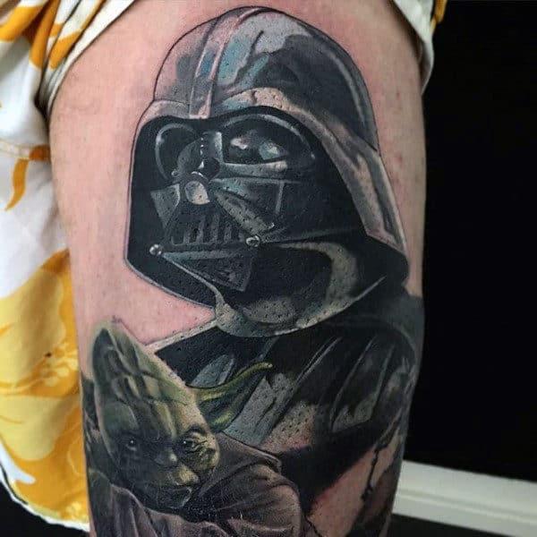 Guys Arms Yoda And Darth Vader Tattoo