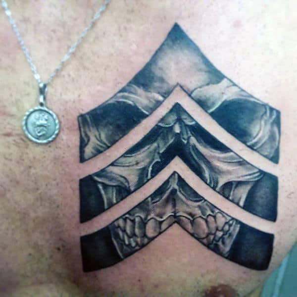 Guys Army Badge Rank Tattoo With Skull On Upper Chest