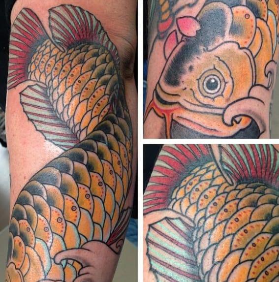 Guys Arowana Tattoo Design Ideas On Leg