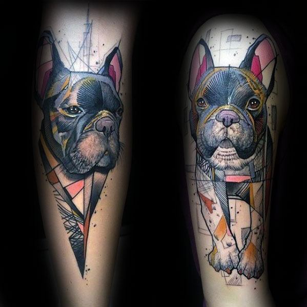 Guys Artistic Bulldog Geometric Arm Tattoo