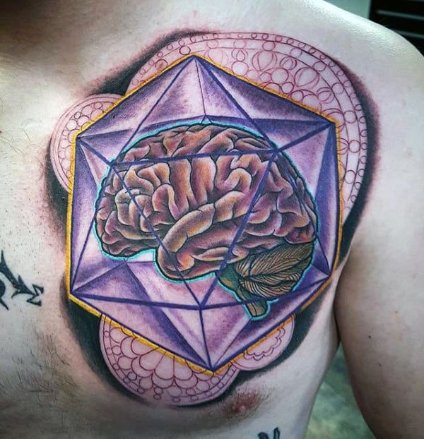 Guys Artistic Geometric Brain Upper Chest Tattoos
