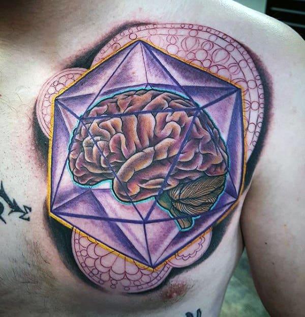 Guys Artistic Geometric Brain Upper Chest Tattoos