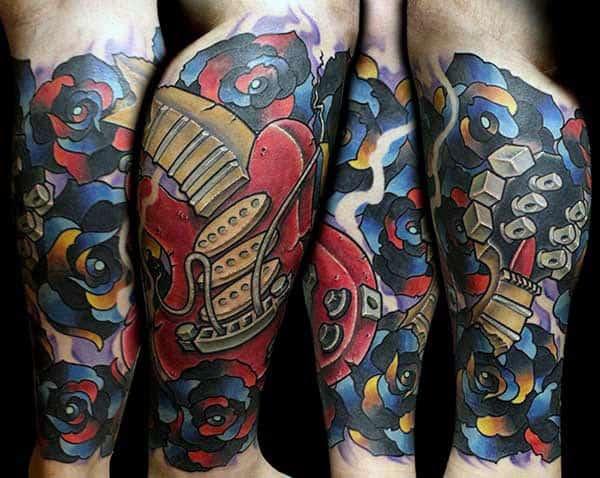 Guys Artistic Music Leg Sleeve Tattoos