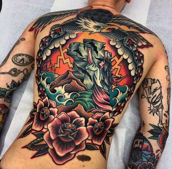 Guys Awesome Back Old School Traditional Tattoos