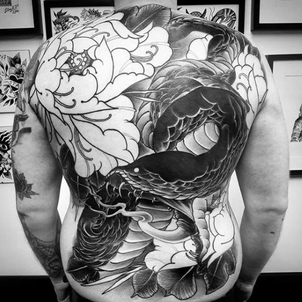 Guys Awesome Back Tattoo Snake With Flower Japanese Designs