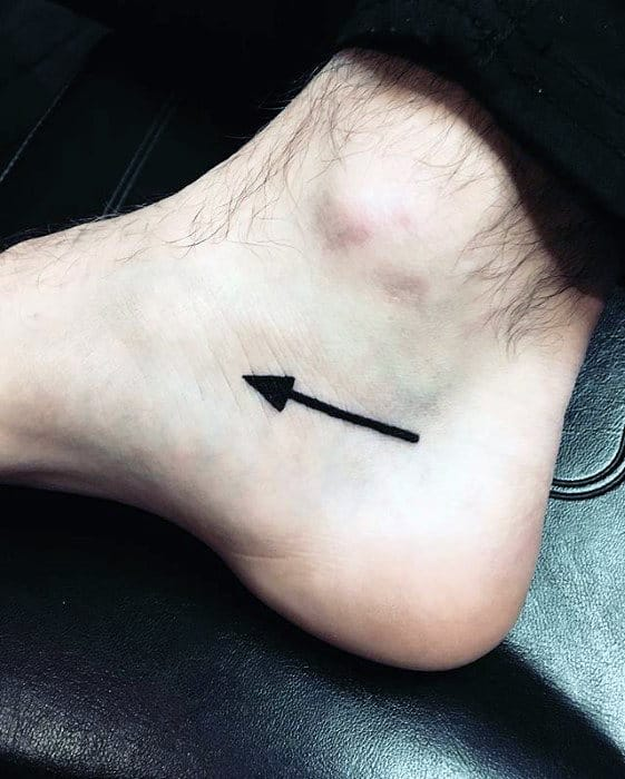 Guys Awesome Black Ink Tiny Small Arrow Foot Tattoo