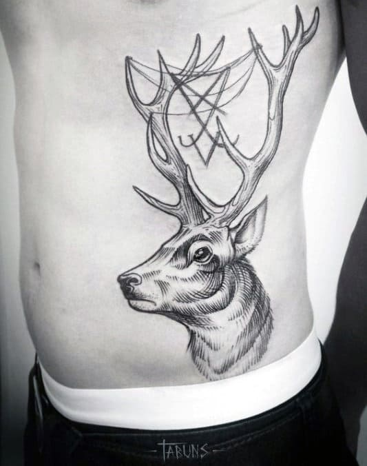 Guys Awesome Deer With Antlers Rib Cage Side Tattoo
