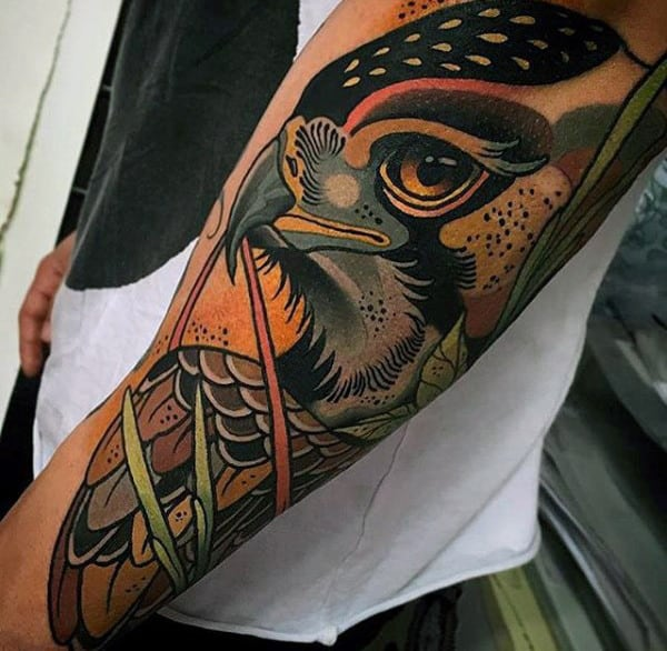 Guys Awesome Eagle Neo Traditional Arm Tattoo