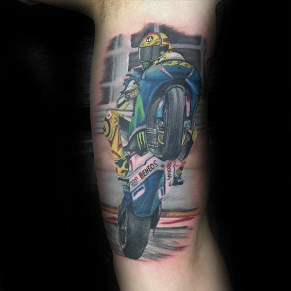 Guys Awesome Inner Arm Motorcycle Rider Tattoo Ideas