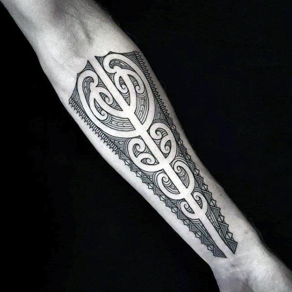 Guys Awesome Inner Forearm Tribal Tattoo Design Idea Inspiration