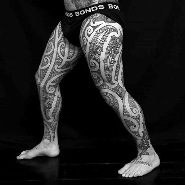 Guys Awesome Leg Sleeve Tribal Tattoo Design Ideas