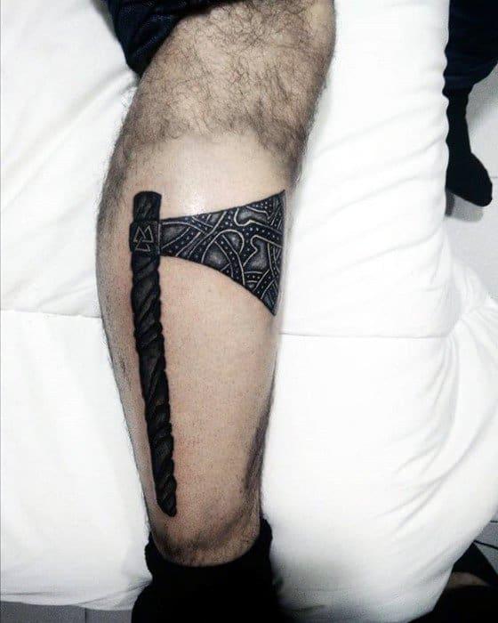 Guys Axe Tattoo On Side Of Leg