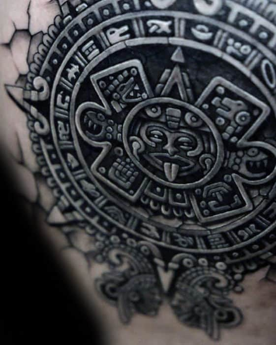 Guys Aztec 3d Tribal Back Tattoo Designs