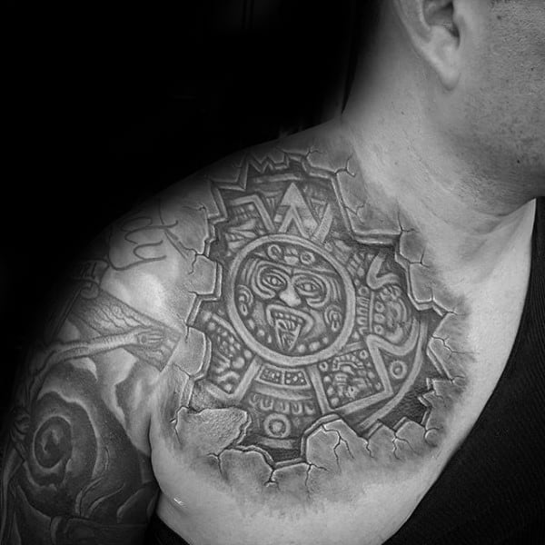 Guys Aztec Smashed Stone Upper Chest Tattoos