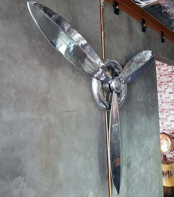 Guys Bachelor Pad Decor Chrome Polished Airplane Propeller