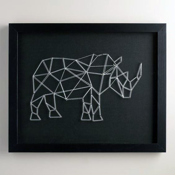 Guys Bachelor Pad Wall Art String Rhino On Black Canvas