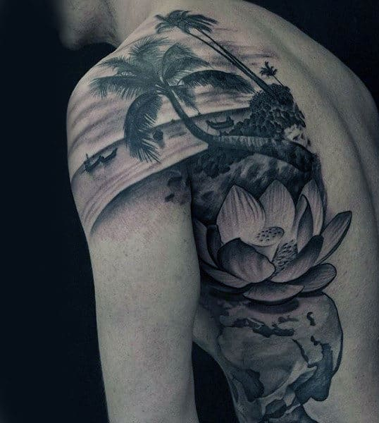 Guys Back Blooming Lotus And Cool Palm Tree On Beach Tattoo