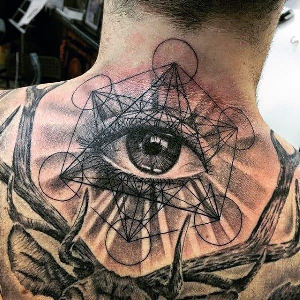 Guys Back Eye With Geometric Hexagon Pattern Tattoo