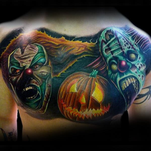 Guys Back Fearsome Halloween Tattoo