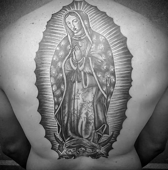 Guys Back Guadalupe Tattoos
