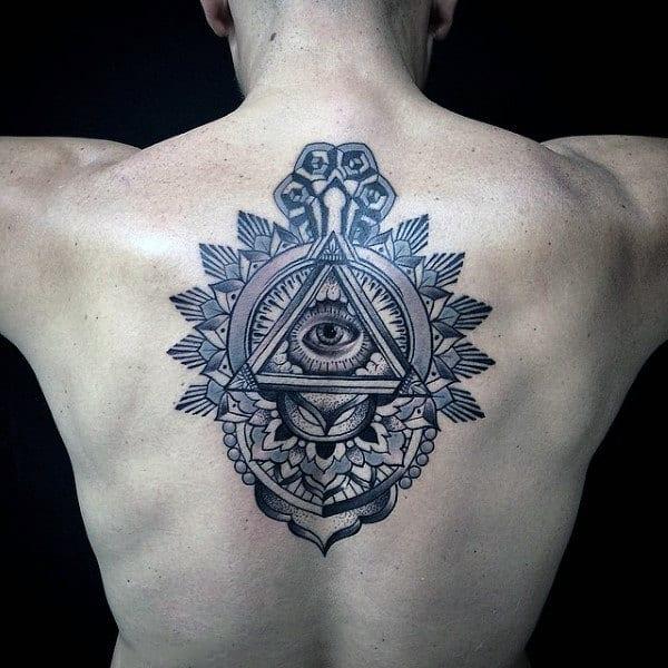 Guys Back Illuminati Tattoo