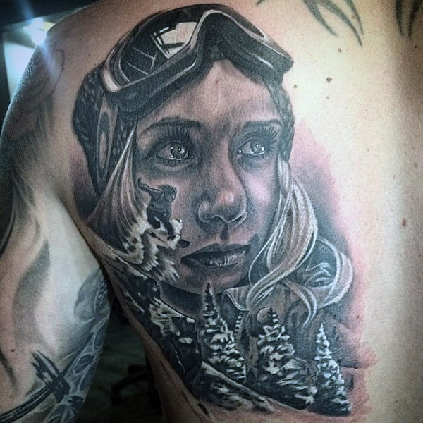 Guys Back Large Eyed Girl And Snowboard Tattoo Designs