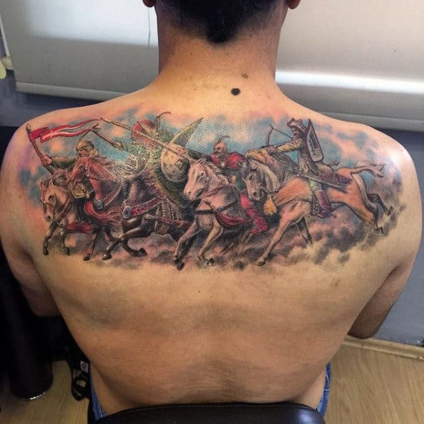 Guys Back Magnificient Warriors In Combat Tattoo