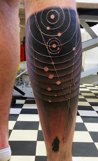 Guy's Back Of Leg Astronomy Tattoo