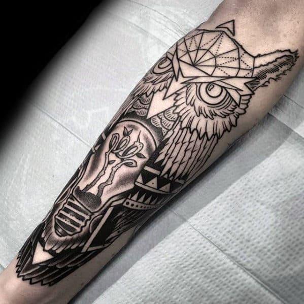 Guys Back Of Leg Geometric Owl Light Bulb Tattoo Designs