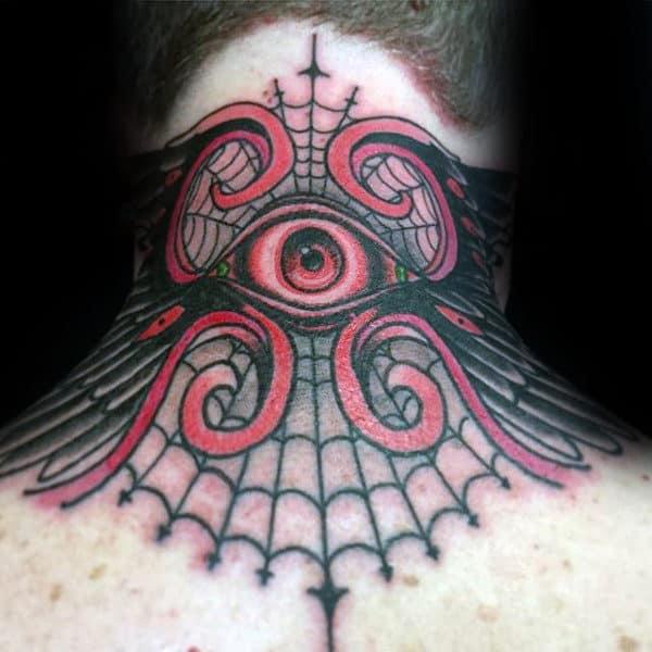 Guys Back Of Neck Spider Web Eye Tattoo