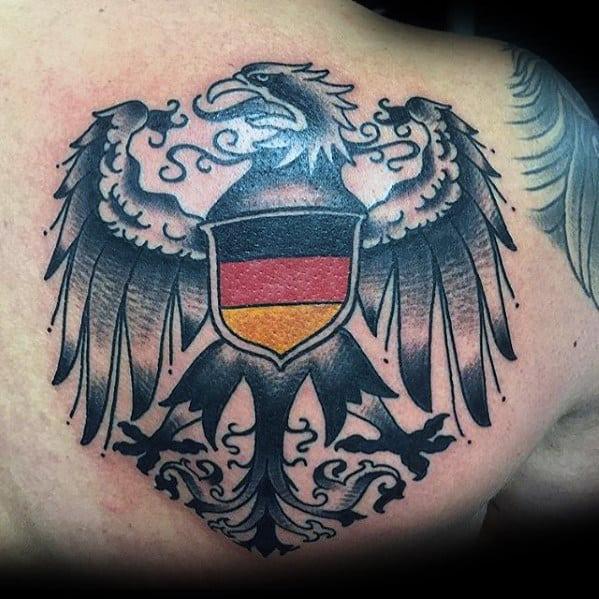 Guys Back Of Shoulder German Eagle Tattoo Ideas