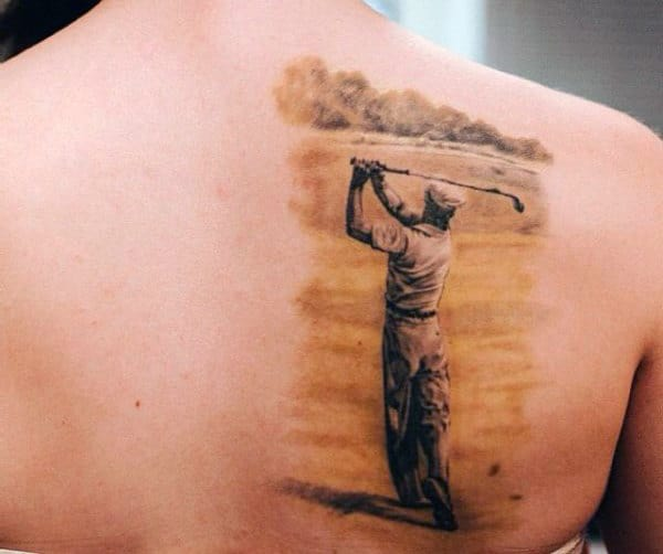 Guys Back Sepia Toned Golfer Tattoo