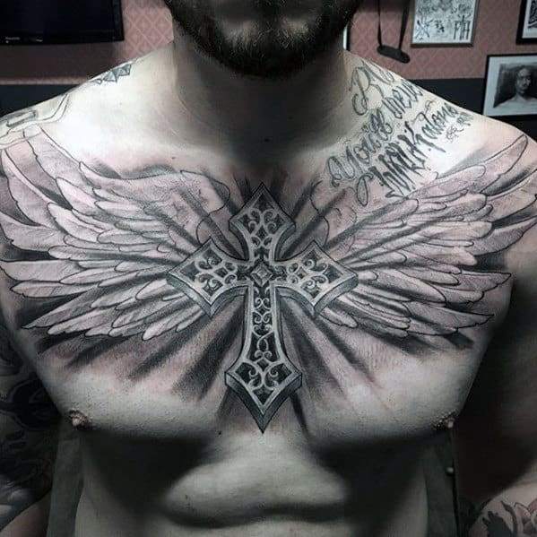 Guys Badass 3d Cross With Angel Wings Shaded Chest Tattoo Designs