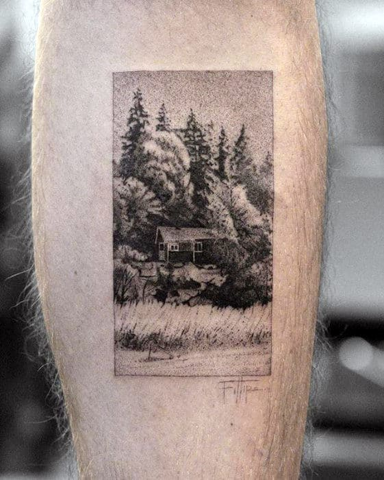 Guys Badass Cabin In Nature Small Leg Tattoo Designs