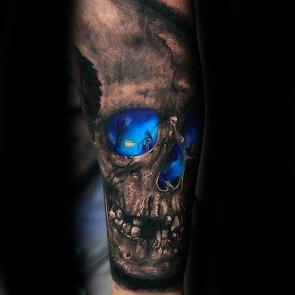 Guys Badass Glowing Blue 3d Skull Forearm Sleeve Tattoo Designs