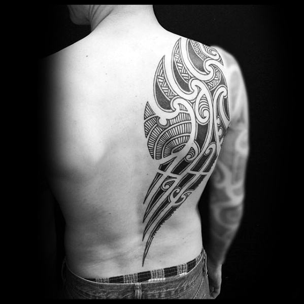 Guys Badass Half Back Tribal Tattoo Designs