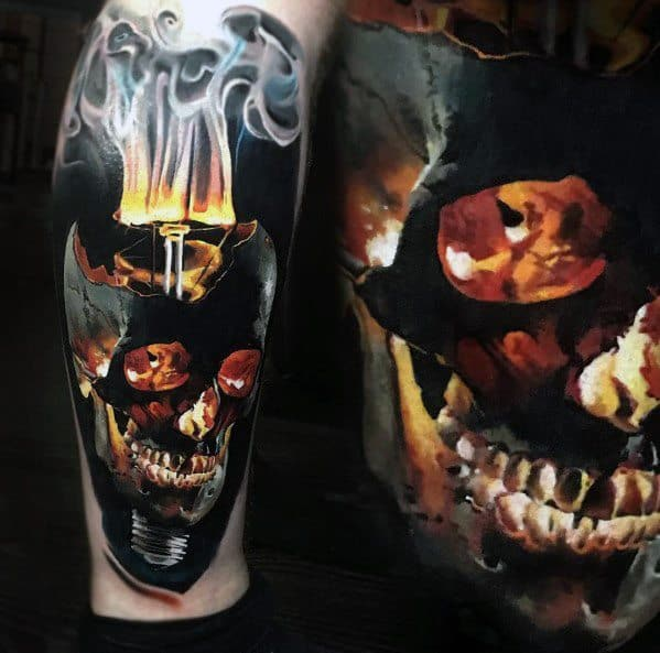 Guys Badass Leg Skull Tattoo Design Ideas