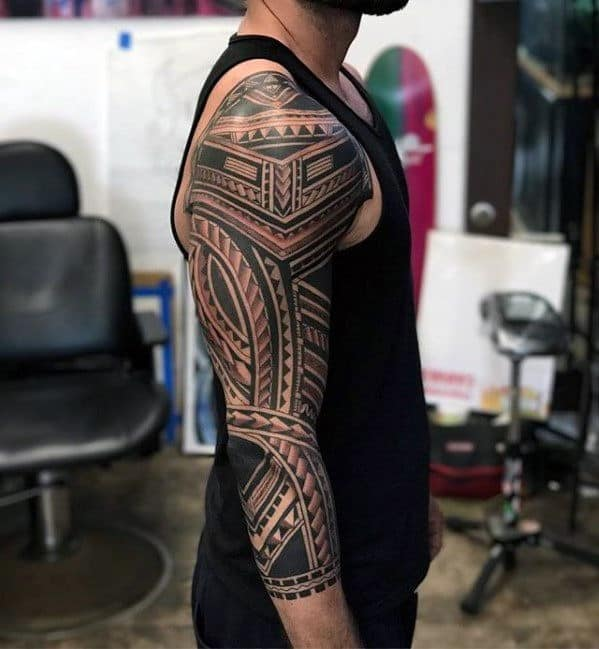 Guys Badass Tribal Sleeve Polynesian Tattoo Design Ideas