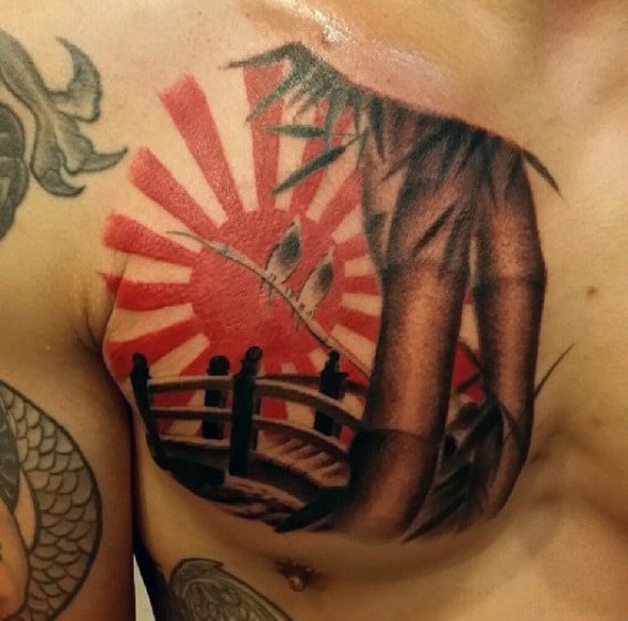 Guys Bamboo Rising Sun Bridge Tattoo On Upper Chest