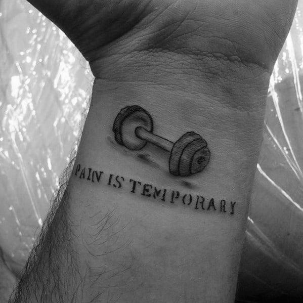 Guys Barbell Tattoo Designs