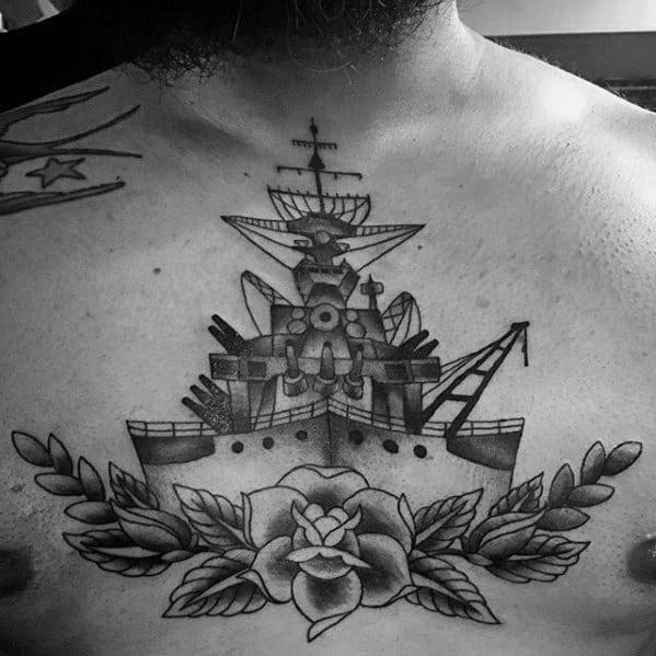Guys Battleship Traditional Upper Chest Tattoo Deisgns