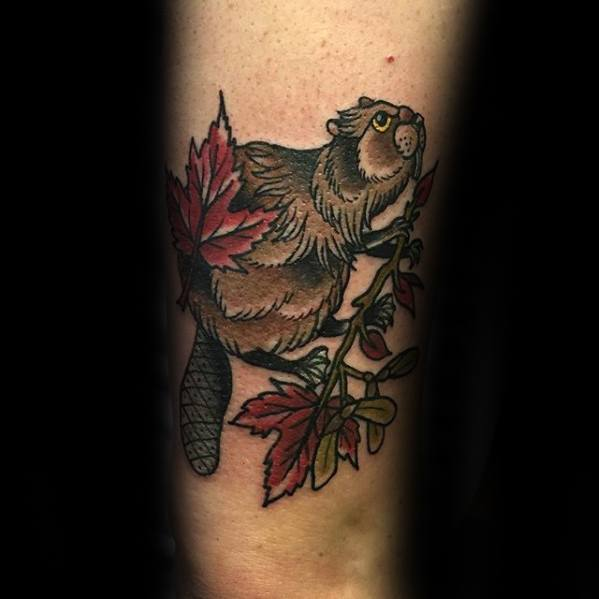 Guys Beaver Tattoo Design Ideas