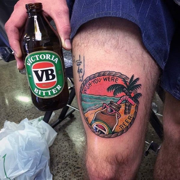 Guys Beer High Tattoo Designs