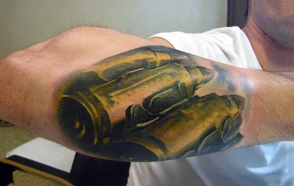 Guys Belt Bullet Proof Tattoo On Outer Forearm 3d Design