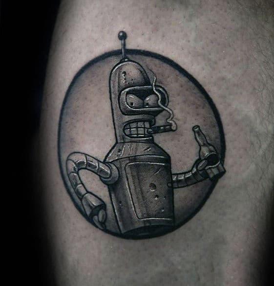 Guys Bender Bending Rodriguez Circular Arm Tattoo