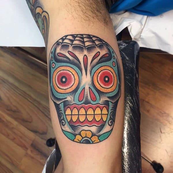 Guys Bicep Colorful Ink Sugar Skull Tattoo Designs