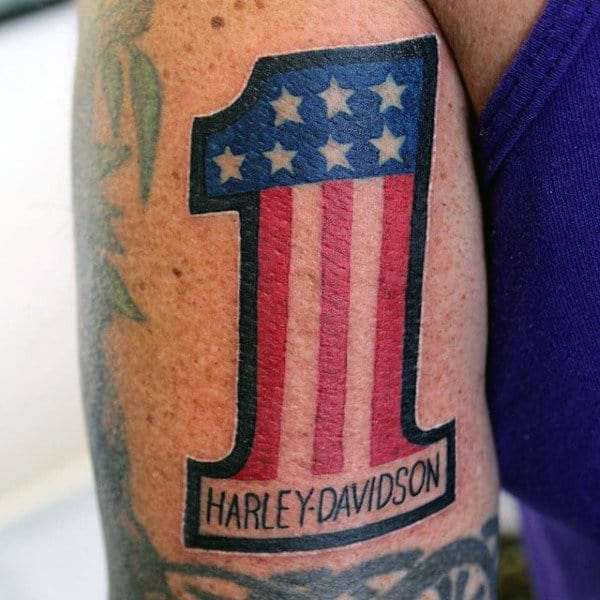 Guys Bicep Harley Davidson 1 Tattoo With American Flag Design