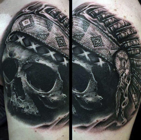 Guys Bicep Skull With Native American Head Tattoos