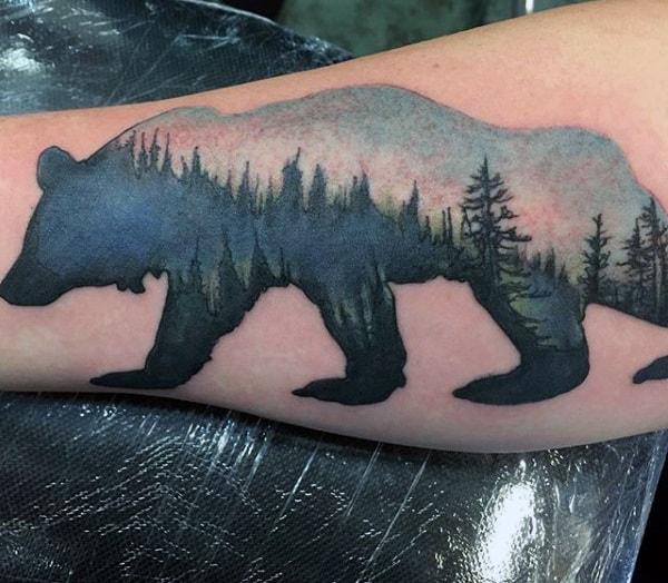 Guy's Big Bear Tattoos On Bicep