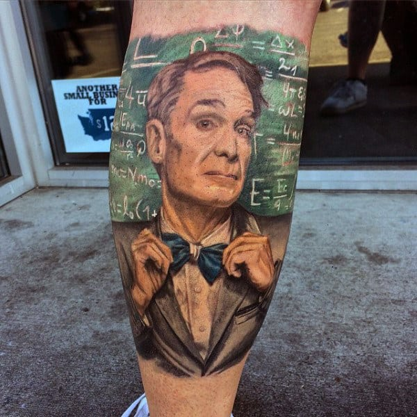 Guys Bill Nye The Science Guy Chemistry Leg Tattoo Ideas